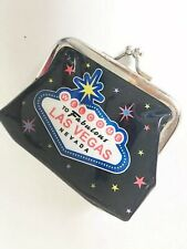 "Vintage Kiss Lock ""Welcome Fabulous Las Vegas Nevada� Coin Purse Bag Black Retro"