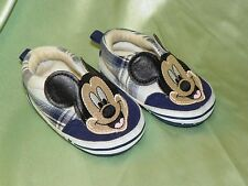 Mickey Mouse Baby Shoes, 9-12 Months, Blue & White Plaid, Velcro