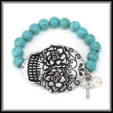 BOUTIQUE Santa Muerte SUGAR SKULL TURQUOISE BIKER BRACELET DAY OF DEAD BANGLE
