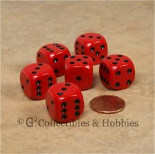 NEW 6 Red with Black Pips ROUNDED EDGE Dice Set RPG D&D Game 16mm 5/8 inch D6