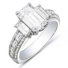 GIA 2.50 Ct. Emerald Cut, Baguette & Round Diamond Engagement Ring 14K I, VS2