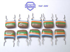 10 x Mullard Tropical Fish Capacitors 15nF - 630V / x 10 Pieces