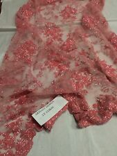 Stunning Small Flower Heavy Beaded Mesh Lace Bridal Wedding LT CoraL