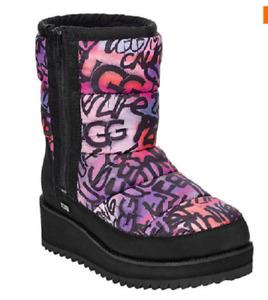NIB UGG Womens's Ridge Graffiti Waterproof Puffer Boot In Multi