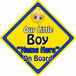 Personalised Child/Baby On Board Emoji Car Sign ~ Our Little Boy On Board