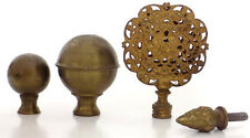 4 Small Vintage Brass Finials Filigree Balls Pinecone