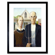 Painting Portrait Study Wood American Gothic Framed Wall Art Print