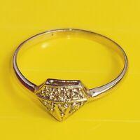 Moderno Esclusivo Stile Liberty Design Anello Vero 585 Oro Bianco 6 Diamante