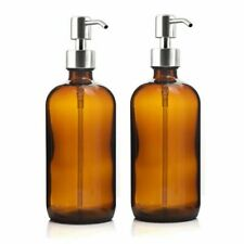 16 Oz Large 500ml Liquid Soap Dispenser Amber Glass Pump Bottle with Stainless
