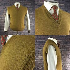 "c864ba94fecbc6 1940s Pattern mens Knitted Tanktop British Wool Mustard XL 44 46"" Chest"