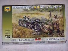 Maquette ZVEDA  1/35ème SOVIET MOTORCYCLE M-72 WITH 82 MM MORTAR