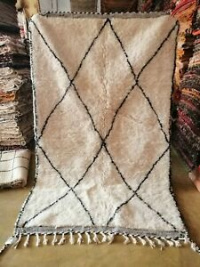 Authentic Beni Ourain Rug Handmade Moroccan Berber 100% Wool carpet 5ft x 8ft2in