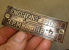 Orig Name Tag for 2hp Hercules Economy No. 238185 Hit and Miss Gas Engine