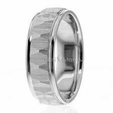 7Mm Wide Unique Texture Mens Womens 14K Solid Gold Wedding Bands Rings His Hers