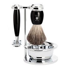 Muhle VIVO Black & Chrome Shaving Set - Stand, Bowl, Safety Razor, Shaving brush