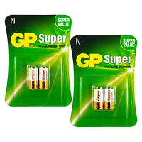 4 x GP Alkaline Super N batteries 1.5V MN9100 E90 AM5 910A 2 in Pack EXP:2019