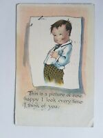 Greeting Postcard Vintage Child Drawing