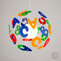 MiniSun Colourful Childrens Bedroom Alphabet Pendant Ceiling Light Lamp Shade