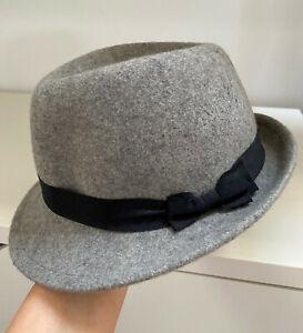KOREAN BRAND Light Grey 100% Wool Felt Trilby Hat Size SMALL
