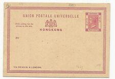 British Colonies Cover Hong Kong Postal Card Scott #18 Unused
