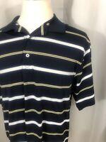 FJ Footjoy Mens Golf Polo Shirt Striped Navy Blue Size Large