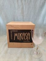 4 Elegant Vintage Etched Flower Wine Champagne Crystal Glasses Mikasa 6 1/2""