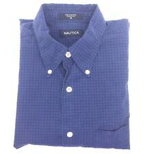 NAUTICA Blue Check Short Sleeve Button Down Collared Shirt Vintage Mens M