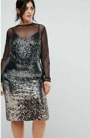 BNWT COAST GISELLA BLACK OMBRE SEQUIN DRESS SIZE UK 16 RRP £129