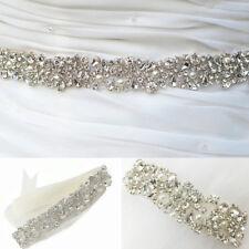 Rhinestone Pearls Beaded Wedding Bridal Dress Sash Belt Ribbon Diamante Applique