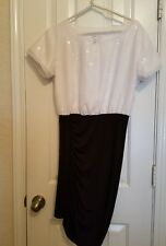BCBG Generation by BCBG MAXAZRIA DRESS WHITE SEQUIN BLACK WOMEN'S SIZE SMALL