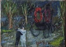 """Gabriel DAUCHOT (1927-2005): huile sur toile """"l'enterrement"""", 22x16cm, signée"""