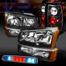 03-06 Silverado Black Head Bumper Lights+Black Tail+Clear LED 3rd Stop Lamps