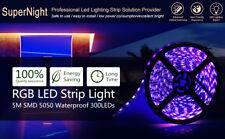 SUPERNIGHT® Black PCB RGB 60Leds/m 5M Waterproof 5050 SMD 300 LEDs Strip Light