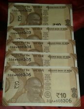 STAR NOTE SET UNC 5 SERIAL NOTES SET INDIA NEW Rs.10 Rupees Gandhi Star NOTES
