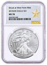 2015-(W) American Silver Eagle NGC MS70 West Point Gold Star Label SKU46813