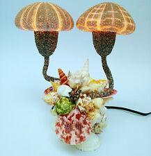Vintage Table Lamp Night Light Shell Light Sea Shells handcraft blow fish Decor