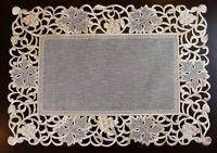 Organza Fabric Embroidered Cutwork Placemat Table Mat Runner Wedding Party Event