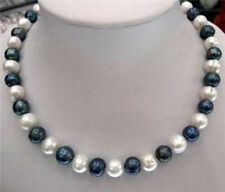 """9-10mm Natural Black & White Akoya Cultured Pearl Fashion Jewelry Necklace 18"""""""