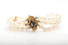 Vintage 1960s 1ct Natural Blue Sapphre Diamond TRI Strand 7mm Pearl Bracelet