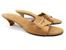 TOD's Beige Leather Low Heels Mule Pumps, Women's Shoes Size US 8 / EU 38