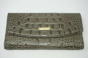 Beautiful Brahmin Dove Grey Embossed Croc Alligator Leather Wallet