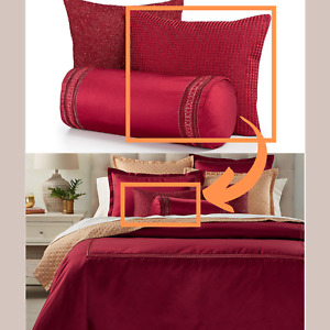 """NWT $170 Hotel Collection Red Luxe Border 16"""" x 20"""" Decorative Pillow #P10"""