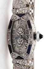 Antique 1920s $4000 2ct Blue Sapphire Diamond 18k 14k Gold Ladies Filigree Watch