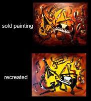 JAZZ   Mark Kazav pop art Abstract IMPRESSIONIST IMPASTO PALETTE KNIFE CWER