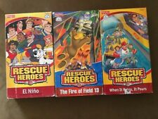 Lot of 3 Vhs Video RESCUE HEROES El Nino, Fire Of Field 13, When It Rains Pours