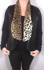 Gilet Black Leopard Print Faux Fur Faux Leather Reversible Soft On Trend  NEW