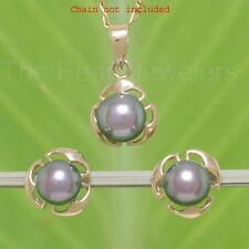 6-6.5mm Black Cultured Pearl Earring & Pendant Set 14k Solid Yellow Gold TPJ