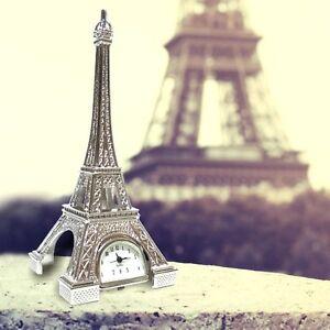 Miniature Clock Mini Color Silver Eiffel Tower Birthday Gift Present Decoration
