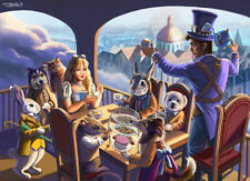 Signed Steampunk Alice in Wonderland Tea Party 8.5 x 11 Artwork Reproduction