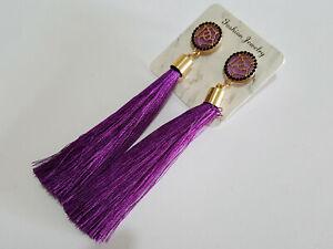Vintage Boho Purple Long Tassel Drop Earrings Cotton Silk Fashion Jewellery